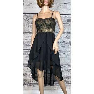 Material Girl Black/Gold Bustier Hi-Lo Dress - XS